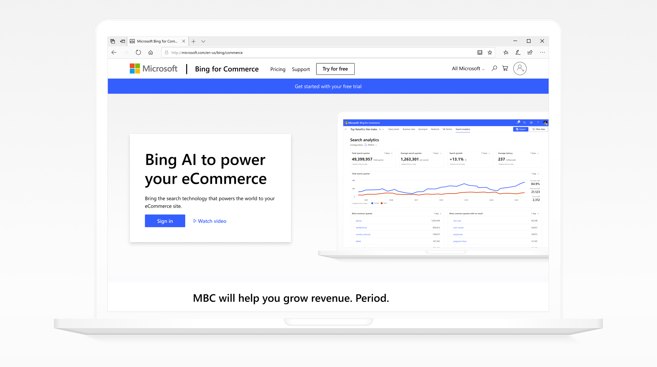 Image of Bing for Commerce Website